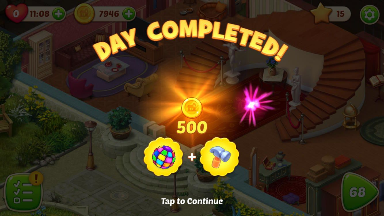 Homescapes earn Coins CompleteDay
