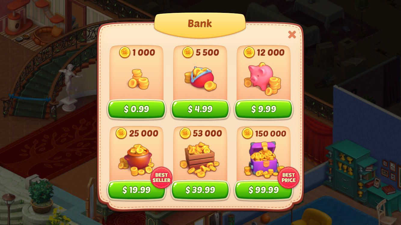 Homescapes earn Coins PurchaseCoins