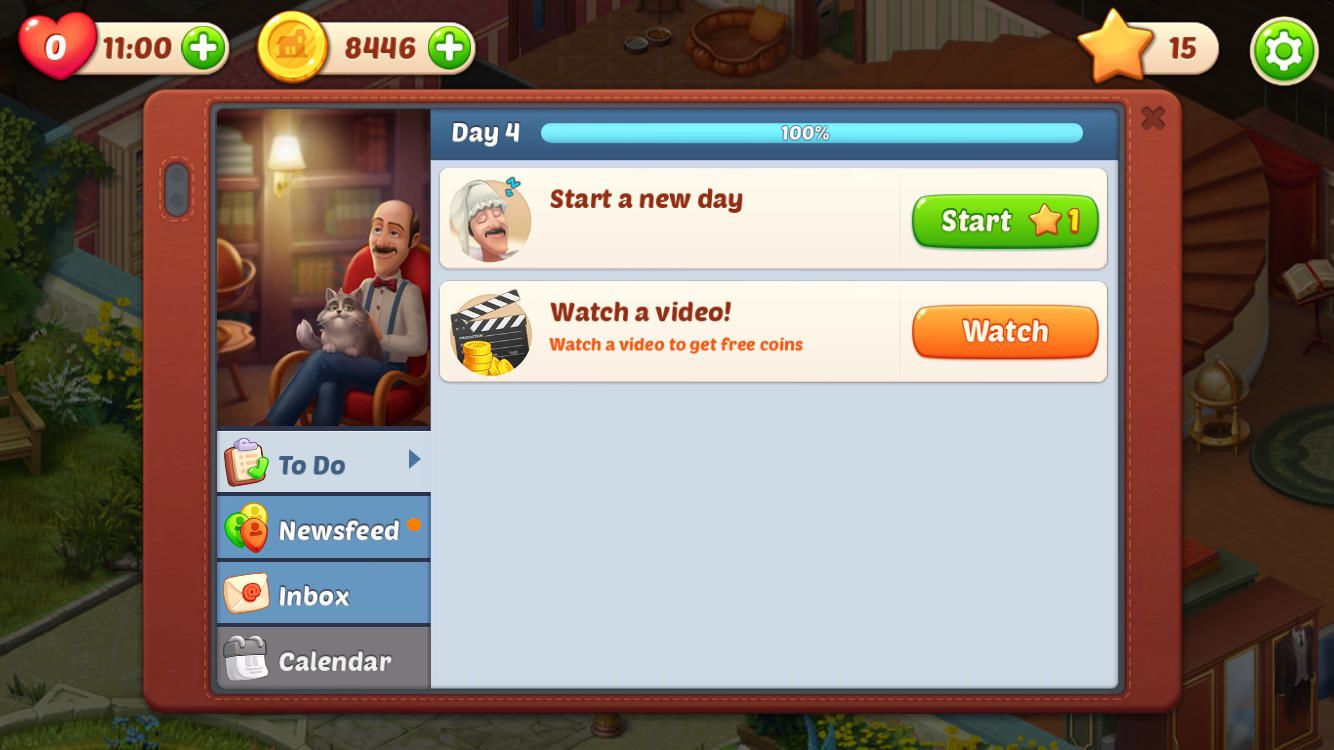 Homescapes earn Coins WatchVideoToDo